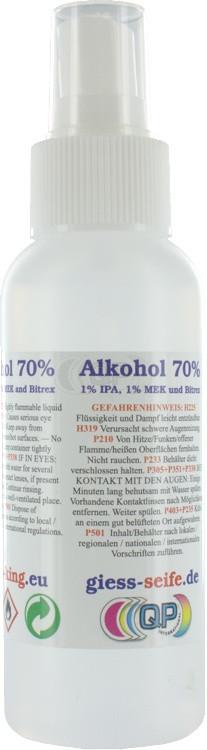 Chirurgischen Alkohol (70% 1% IPA, 1% MEK en Bitrex) 100ml inklusive Zerstäuber