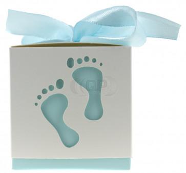 Geschenkbox Füße weiß / blau 10 Stück (6*6*6 Zm)