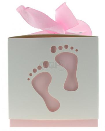 Geschenkbox Füße weiß / rosa 10 Stück (6*6*6 Zm)