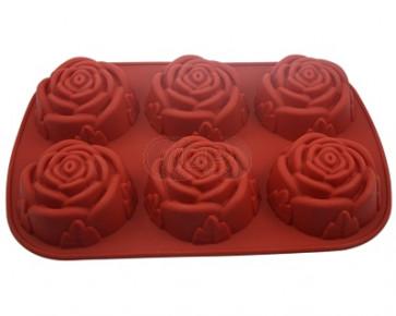 QP0005S Silikonform: 6 x Rose (groß)