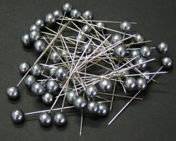 Perlen-Stifte / Perlknöpfe Ø 9 mm Anthrazit 50 Stück [1429]