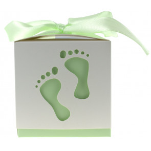 Geschenkbox Füße weiß / grün 10 Stück (6*6*6 Zm)