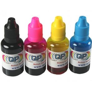4 Flaschen PET transparent 30ml mit 4 Farbkappen, Tropfer, kindersicher