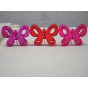 Pricker mit Schmetterling + Glitzer. Set mit rosa / rot / lila Schmetterling