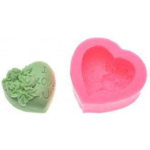 Qp0032NS Silikonform: Herz mit einer Rose, I Love U