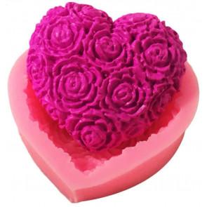Qp0039NS Silikonform: Herz mit Blumen