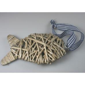 Anhänger Schilf  Fisch grau 18 cm